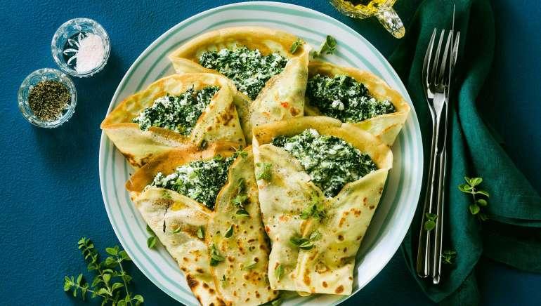 Zapečene palačinke z blitvo in sirom